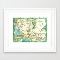 middle earth Framed Art Prints featuring Middle Earth map by Ioreth