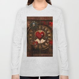 Steampunk, awesome steampunk heart Long Sleeve T-shirt