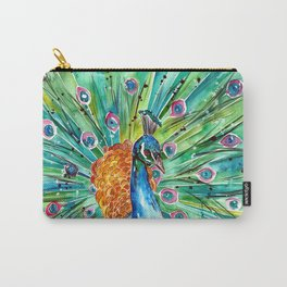 Vibrant Peacock Carry-All Pouch
