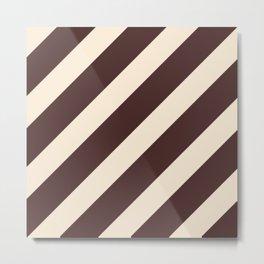 Antique White and Coffee Brown Diagonal Stripes Metal Print