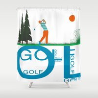 golf Shower Curtains featuring Golf, golf, golf! by South43