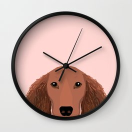 Long Haired dachshund doxie must have gifts red coat color unique dog breed gift ideas Wall Clock