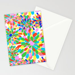 Rainbow Pom Pom Mums in White Stationery Cards