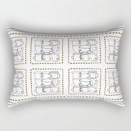 Coffee Beans and Mugs Rectangular Pillow