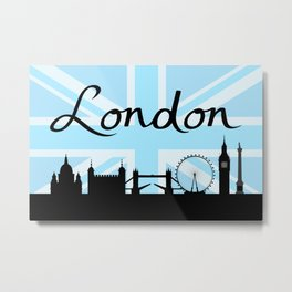 London Script on Union Jack Sky & Sites Metal Print
