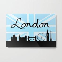 London Script on Union Jack Sky & Sites Metal Print