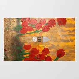 150 Years of CU - An Alumni Anniversary Tribute with Red Tulip Flowers Rug