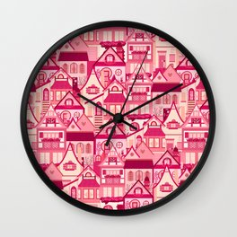 Pink Little Town Wall Clock