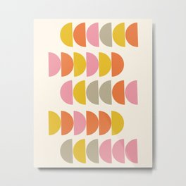 Cute Geometric Shapes Pattern in Pink Orange and Yellow Metal Print