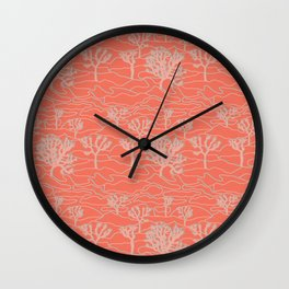 Joshua Tree Landscape in Sunset Orange Wall Clock