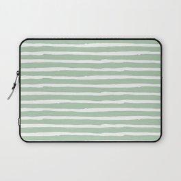 Elegant Stripes Pastel Cactus Green and White Laptop Sleeve