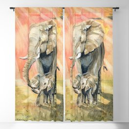 Mom and Baby Elephant Blackout Curtain