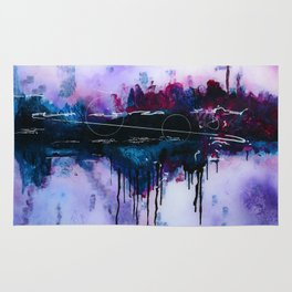 Dawn, pink and fushia black and blue acrylic abstract artwork Rug