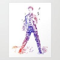 Elvis Presley Jailhouse Rock Text Portrait (Color Gradient) Art Print