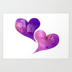 Purple and Pink hearts Art Print