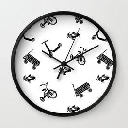 vintage wheels black and white pattern Wall Clock