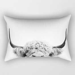 Peeking Cow BW Rectangular Pillow