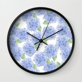 Elegant lavender lilac watercolor hydrangea floral Wall Clock