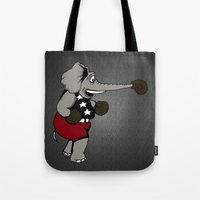 boxing Tote Bags featuring Boxing Elephant by Adam Metzner