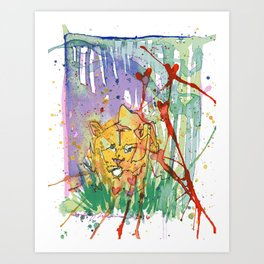 Lonely Lion Hearts Art Print