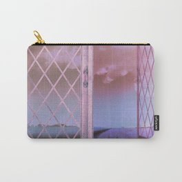 Lavender Fields in Window Shabby Chic original art Carry-All Pouch