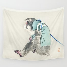 Monkey by Kōno Bairei (1844-1895) - japanese art Wall Tapestry