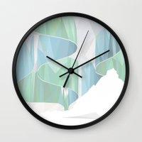 aurora Wall Clocks featuring aurora by Marta Olga Klara