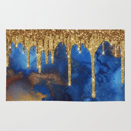 Gold Rain on Indigo Marble Rug