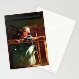 Old time quilt maker in window light Stationery Cards