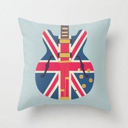 Union Jack Flag Guitar - Slate Throw Pillow