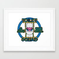 toilet Framed Art Prints featuring Toilet Squad by Justin Kedl