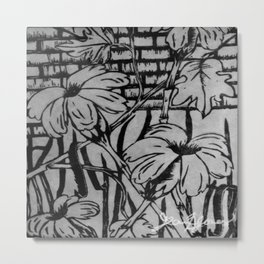 Black and White Palm Flowers by my Mom Metal Print