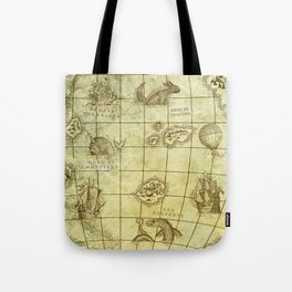 Here Be Monsters Map Tote Bag