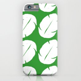 Ohana green background hawaiian leaves iPhone Case
