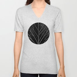 Black leaf with abstract patterns Unisex V-Neck