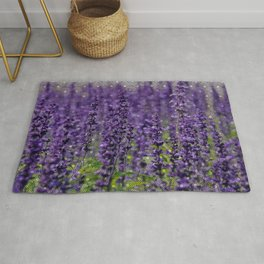 Lavender Love (Lavender field with circular pattern overlay) Rug