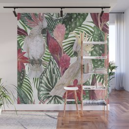 Watercolor painting seamless pattern with white cockatoo birds and tropical flowers, leaves Wall Mural