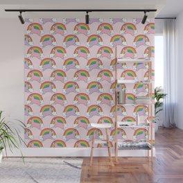 Llamacorns (Llama Unicorns) and Rainbows Wall Mural