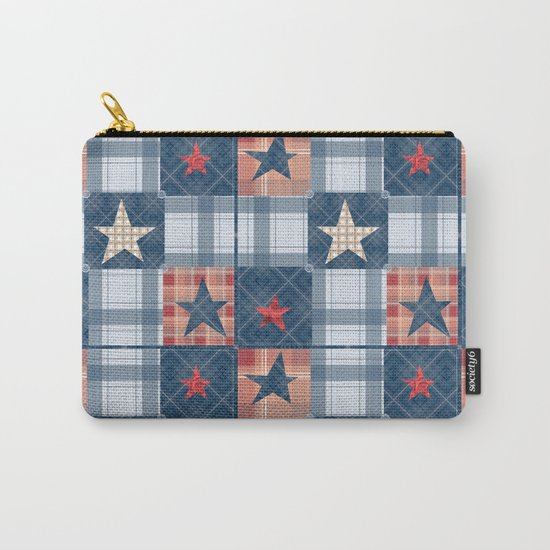 Blue denim plaid patchwork . Carry-All Pouch