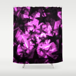 Dark purple cosmic stars with glow in the distance from the foil in perspective. Shower Curtain
