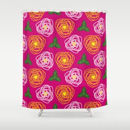 Bright pink floral Shower Curtain
