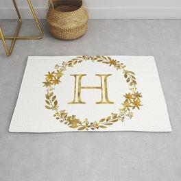Monogram Letter H with Golden Wreath Rug