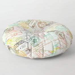 Passport Stamps Colorful Print Floor Pillow