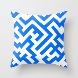 White and Brandeis Blue Diagonal Labyrinth Throw Pillow