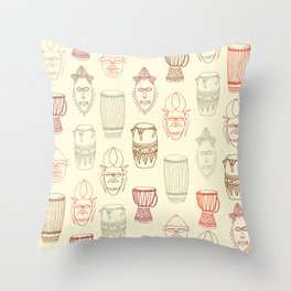 African drums and masks Throw Pillow