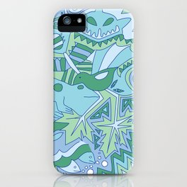 Abstract Animals - Blue and Green  iPhone Case