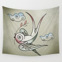 sparrow Wall Tapestries featuring Sparrow by Vin Zzep