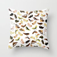 shoes Throw Pillows featuring Shoes by Jeanne Bornet