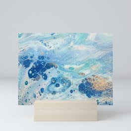 Under the Sea - Blue Abstract Acrylic Pour Art Mini Art Print