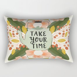 Teapot and Flowers - Take Your Time Rectangular Pillow